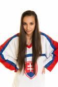 Girl Slovakian Hockey Fan — Stockfoto