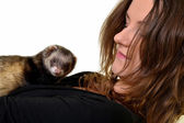 Beautiful girl holding a ferret — Stock Photo