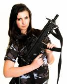 Beautiful woman with gun — Stock Photo