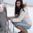 Woman putting winter tire chains on car wheel — Foto Stock #61893099