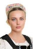 Woman in slovakian folk costume — Stock Photo