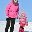 Mother and daughter nice winter scene — Stock Photo #65008357