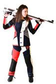 женщина подготовки спортивной стрельбы с пневматической винтовки пистолет — Стоковое фото