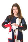 žena školení sportovní střelbě vzduchovku zbraní — Stock fotografie