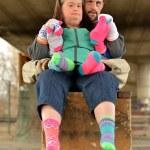 Down syndrome couple — Stock Photo #67279851