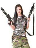 Beautiful woman with guns — Stock Photo