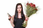 Woman With Red Roses and gun — Stock Photo