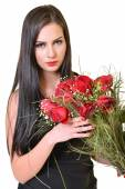 Woman With Red Roses — Stock Photo