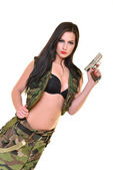 Sexy woman with gun — Stock Photo