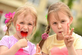 Two little slovakian girls — Stock Photo