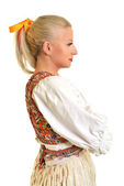 Woman dressed on slovakian folklore dress — Stock Photo