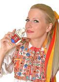 Woman dressed on slovakian folklore dress — Stock Photo