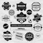 Soccer Football Typography Badge Design Element — Stock Vector