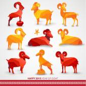 Happy Chinese New Year 2015 Year of Goat — Vecteur