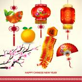 Happy Chinese New Year Decoration Set — Stock Vector