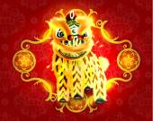 Happy Chinese New Year Lion Dance — Vector de stock