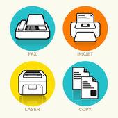Printing Machine Vector Icon Set — Stock Vector