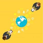 Business and Social NetworkVector Design — Stock Vector