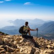 Tourist woman on the top of mount, — Stock Photo #54500247