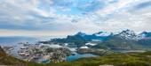 Sunset aerial panoramic view on mountains and Svolvaer in Lofoten islands, Norway — Stock Photo