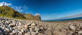 Beach and mountains at Unstad, Lofoten Norway — Stock Photo