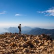 Tourist woman on the top of mount, — Stock Photo #59392437