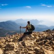 Tourist woman on the top of mount, — Stock Photo #59392463