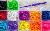 Colorful of elastic rainbow loom bands — Stock Photo