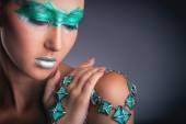 Zielony makijaż — Zdjęcie stockowe