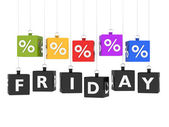 Black friday on red labels — Stock Photo