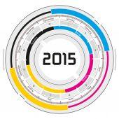 2015 CMYK circular calendar — Stock Photo