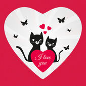 Valentines Day lovers black cats — Stock Photo