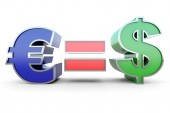 Euro equal Dollar — Stock Photo