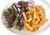 Albanian liver and fries — Zdjęcie stockowe