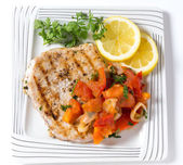 Marlin steak meal from above — Stock Photo