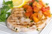 Marlin and salsa dinner — Stock Photo