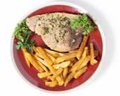 High angle swordfish and chips — Stock Photo