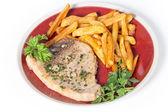 Swordfish steak and fries — Stock Photo