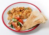 Circassian chicken salad and  bread — Stock Photo