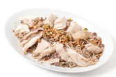 Lebanese chicken and spiced rice serving dish — Stock Photo