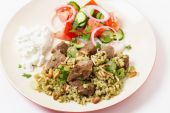 Beef with freekeh high angle view — Stock Photo