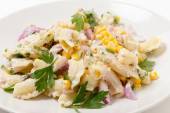 Tuna sweetcorn pasta salad closeup — Stock Photo