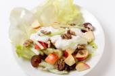 Waldorf salad over white high angle view — Stock Photo