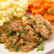 Chicken in almond sauce dinner — Stock Photo #64087051