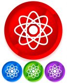 Symbolic molecule, atom symbol icon for chemistry, biology, rese — Vector de stock