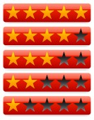Red star rating — Stock Vector