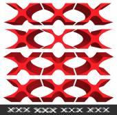 Klasik şekiller, 3d ayetlerine Xxx X kırmızı — Stok Vektör