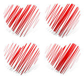 Zigzag hearts icons — Stock Vector