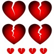 Постер, плакат: Broken hearts icons set