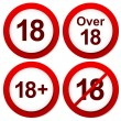 Over 18 restriction signs — Stok Vektör #68170245